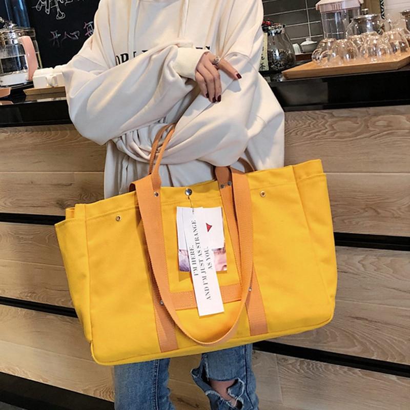 Bolso de mano de lona bolso de compras de mujer bolso de mano de ocio de estilo Simple disponible para bolsas personalizadas-in Bolsas para compras from Maletas y bolsas    2