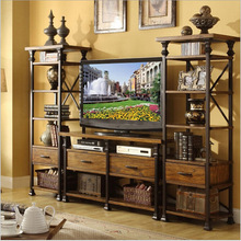 American Village TV cabinet combination of solid wood, wrought iron racks shelves lockers retro style display industry