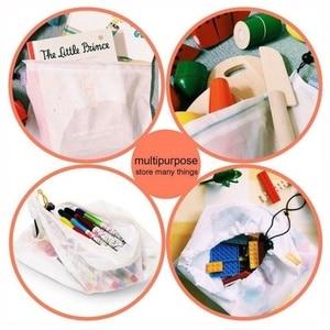 Image 2 - 1 pcs/3 pcs/5 pcs 재사용 가능한 생산 메쉬 가방 로프 야채 완구 스토리지 파우치 과일 및 식료품 가방 메쉬 스토리지 가방 쇼핑 가방