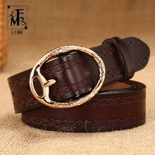 [LFMB] Для женщин ремень натуральная кожа Модные ремень Для женщин коровьей повседневные штаны Топ Пряжка ремень