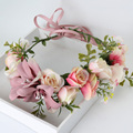 Handmade Rose Flower Wreath Bohemia Crown Garland Wedding Beach Party Peadpiece Decorations Ribbon Belt Bijoux Cheveux Mariage