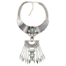 2017 New Colorful Gem Crystal Luxury Big Vintage Chunky Necklaces & pendants Maxi Boho Statement Collar Necklace