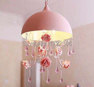 3 Light flowers Crystal LED Pendant Light Lamp,Ceramic and Metal,Princess style,For bedroom living room,Bulb  Included chinese style jingdezhen ceramic multicolour flowers 1 light warm light for dining room living room study e27 bulb included