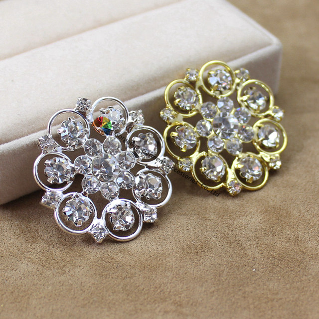 10pcs32mm Flower czech clear crystal center rhinestone diamante buttons  with loop Gold Silver For DIY browband Hair accessories 8a54efadd7ae