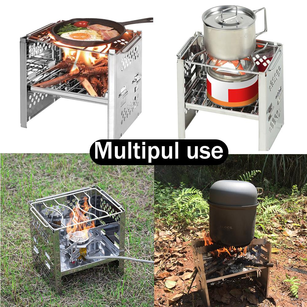 Image 5 - Potable Folding Stainless Steel Backpacking Stove Outdoor Wood Burning Camp Stove Picnic BBQ Camping Stove-in Outdoor Stoves from Sports & Entertainment