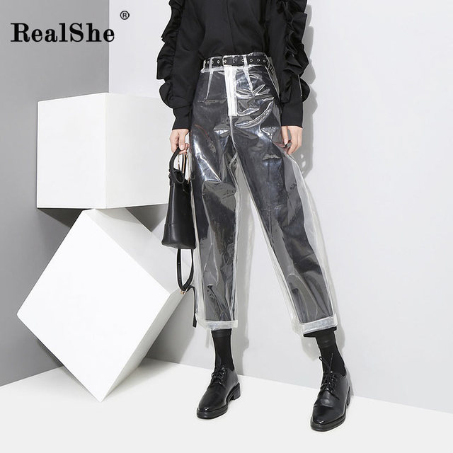 RealShe Fashion Pants Women High Waist Solid Pants And Trousers Ladies Spring Summer Casual Elastic Waist Pencil Pants