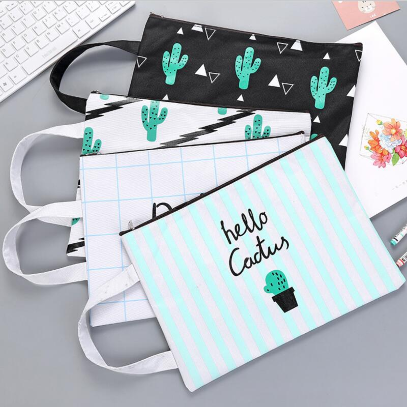 1pcs/lot 320*235mm Zipper Oxford Cloth File Bag A4 Size Hello Cactus Series Storage Documents Bag Office School Supplies