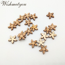 WISHMETYOU 50pcs 11mm Cute Flowers Natural Wood Handcraft For Diy Embellishment Scrapbooking Unfinished Decor Crafts Supplies