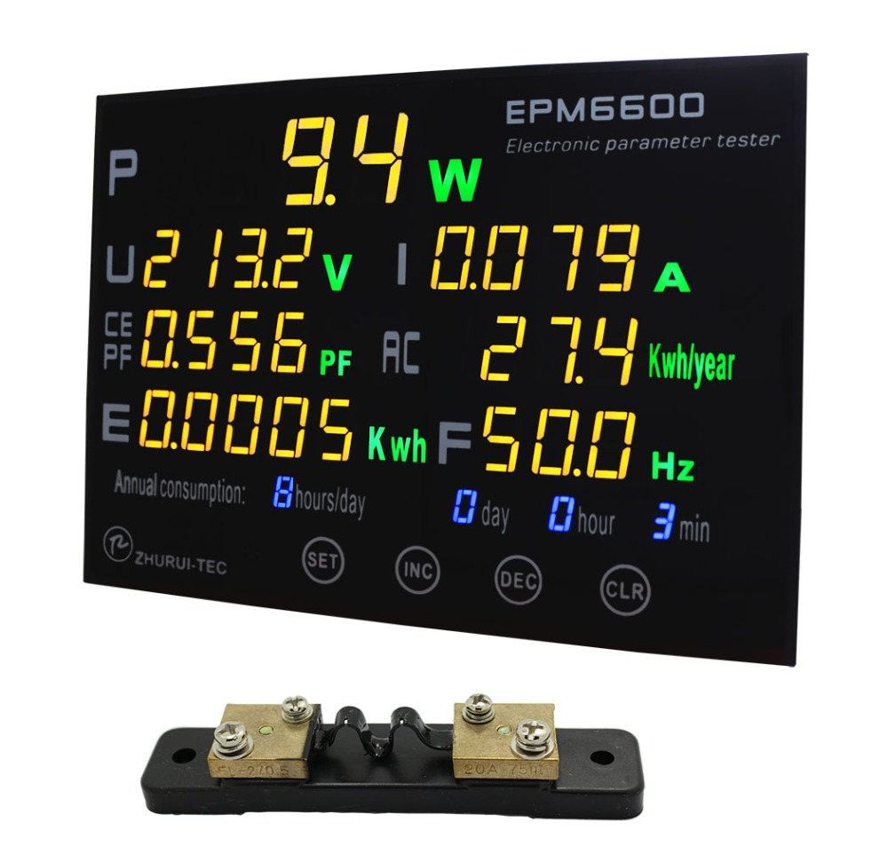 EPM6600 20A 6kw single phase AC watt meter digital kwh meter power analyzer with multi color