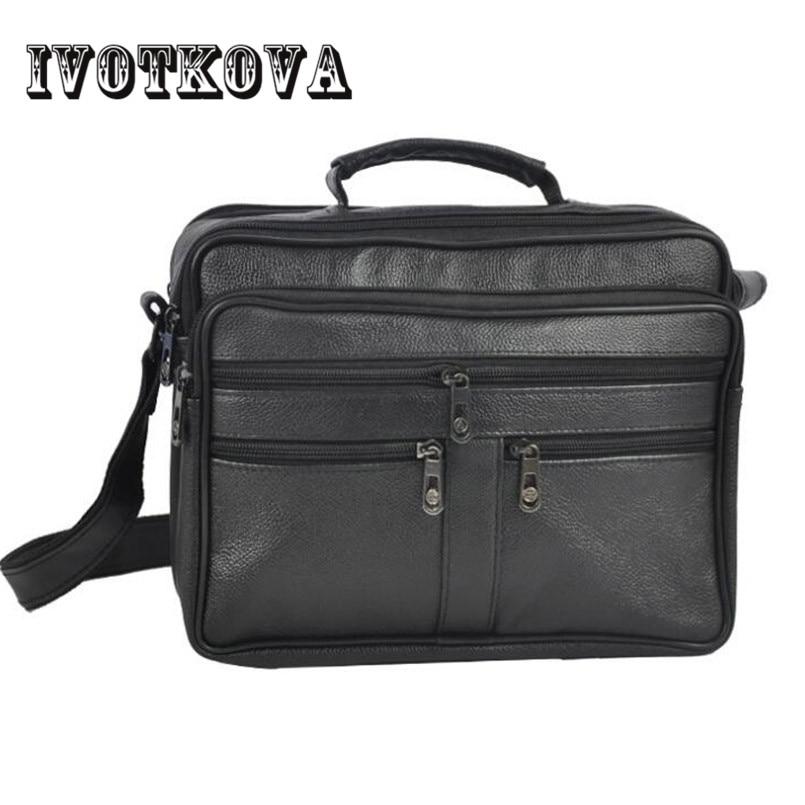 IVOTKOVA Business Men PU Leather Bag Natural Men Messenger Bags Vintage Men's Shoulder Crossbody Bag