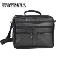 IVOTKOVA iş erkek PU deri çanta doğal erkek postacı çantası eski erkek omuz Crossbody çanta