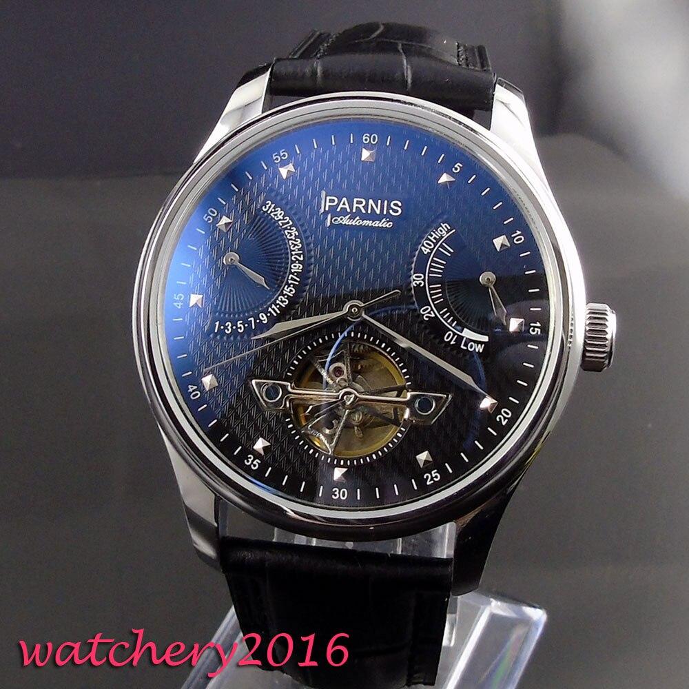 43 มิลลิเมตร parnis Black dial สแตนเลสสตีล case power reserve ปฏิทิน ST 2505 นาฬิกาผู้ชายอัตโนมัติ-ใน นาฬิกาข้อมือกลไก จาก นาฬิกาข้อมือ บน   1
