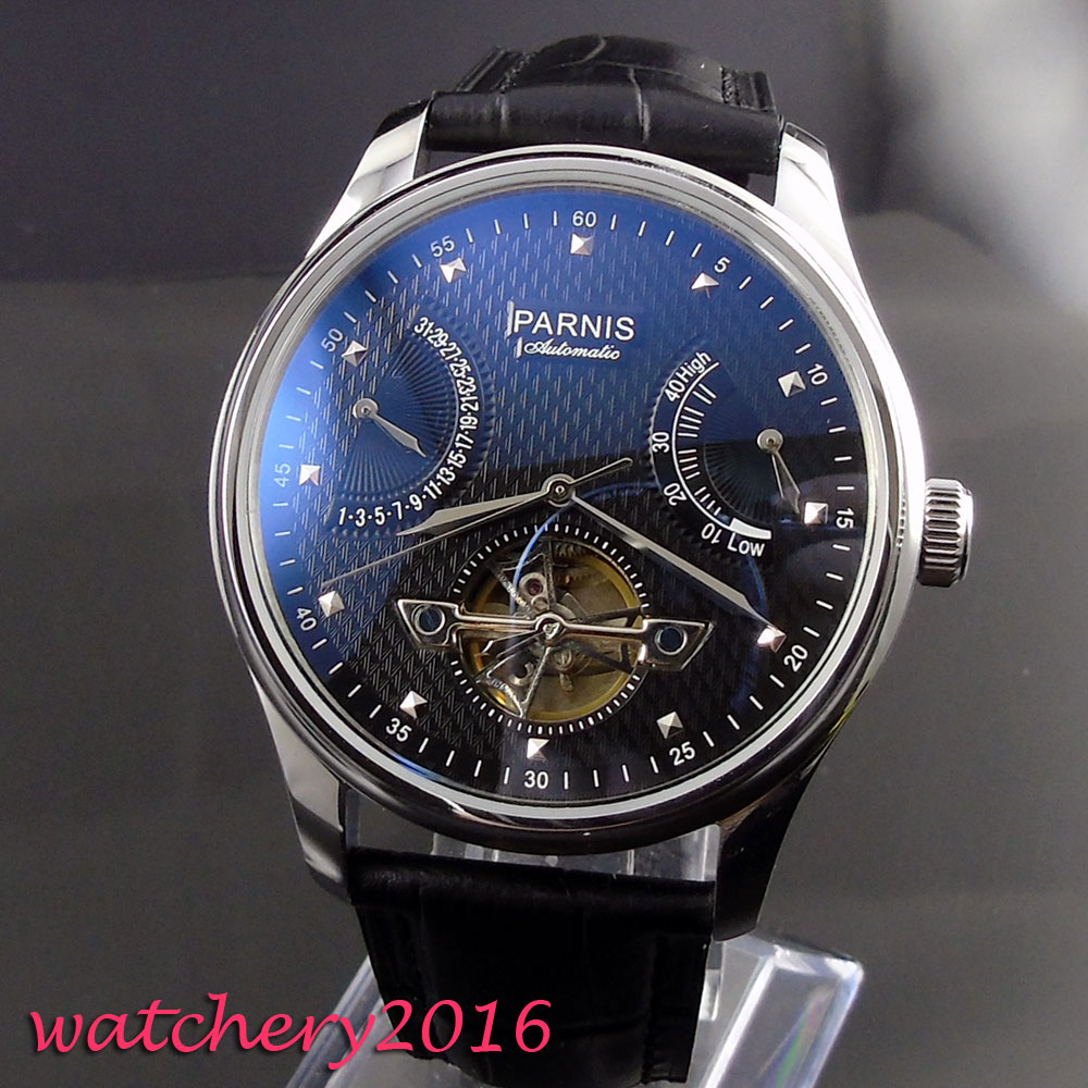 43mm parnis Black dial Stainless steel case power reserve Complete Calendar Sea Gull 2505 Automatic mechanical men's Watch