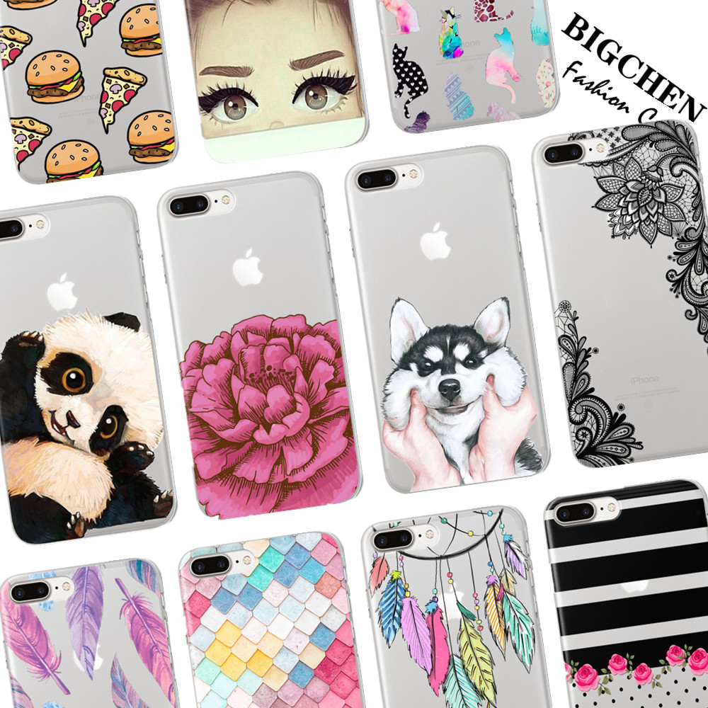 Cute Panda Hamburgers Flower Mandala Henna Clear Case For iphone X 5s SE 6 6S 7 8 Plus 6Plus Phone Cases Fashion Cartoon Coverr