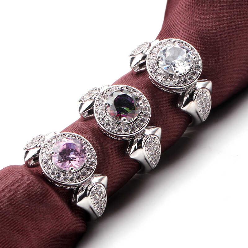 มาถึงใหม่ Rose Gold Filled แฟชั่นเครื่องประดับคริสตัลสีขาว Zircon แหวนงานแต่งงานแหวนหมั้นสำหรับผู้ชายและผู้หญิง Anel