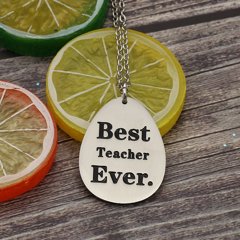XIAOJINGLING Fashion Stainless Steel Necklace Water drops Necklaces & Pendant Best Teacher Ever Cute Teachers Day Gift Jewelry