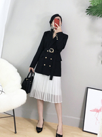 New fashion women skirt suits black blazer with mesh pleated skirt suit set ladies formal blazer skirt set jacket skirt suits
