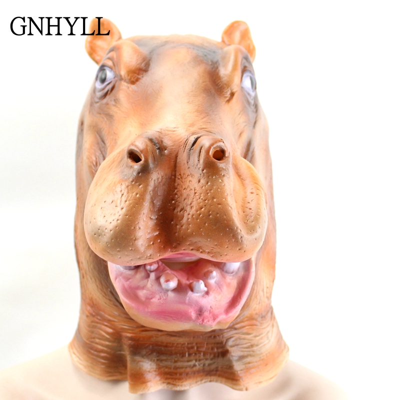 GNHYLL Halloween Mask Full Face Lovely Animal Hippo Head Mask Halloween Cosplay Party Mask Adult in Party Masks from Home Garden