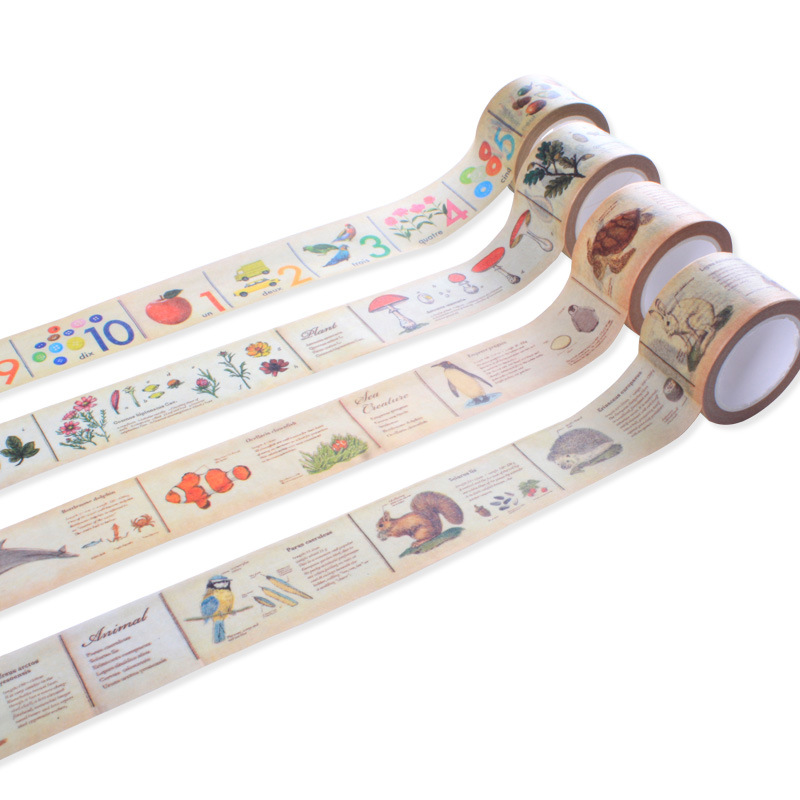 1 Pcs Washi Tapes DIY Vintage Natural Animals Paper Masking Tape Decorative Adhesive Tapes Scrapbooking Stickers Size 30mm*10m