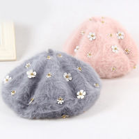 Autumn And Winter Winter Hat Lady Korean Fashion Rabbit Wool BERET HAT Tide Painter Pearl Cute