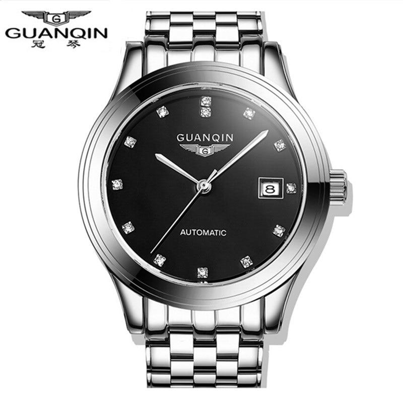Automatic Mens Wristwatch GUANQIN Mechanical Men Watch Sapphire Business Men's Watch Analog Steel Hollow Clock Relogio Masculino все цены