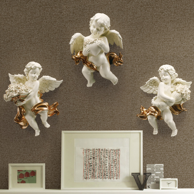 Cute Cupid Love Angel Statue 3D Wall Background Mural Sculpture Colophony Crafts Home Living Room Decor L3247