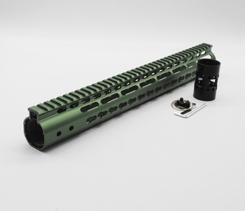 TriRock 15'' inch Olive Green Anodized Keymod Handguard Rail Free Floating Picatinny Mount System Fit .223/5.56 AR-15