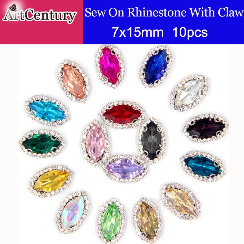 10pcs/pack 7x15mm All Colors Horse Eye Shape Sew on Glass Rhinestones With Claw For Clothes And weeding Decoration