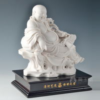 Master Dai Yutang Dehua Su Youde be signed works of Arts and crafts/8 inch laughing Buddha sitting rock D29 31