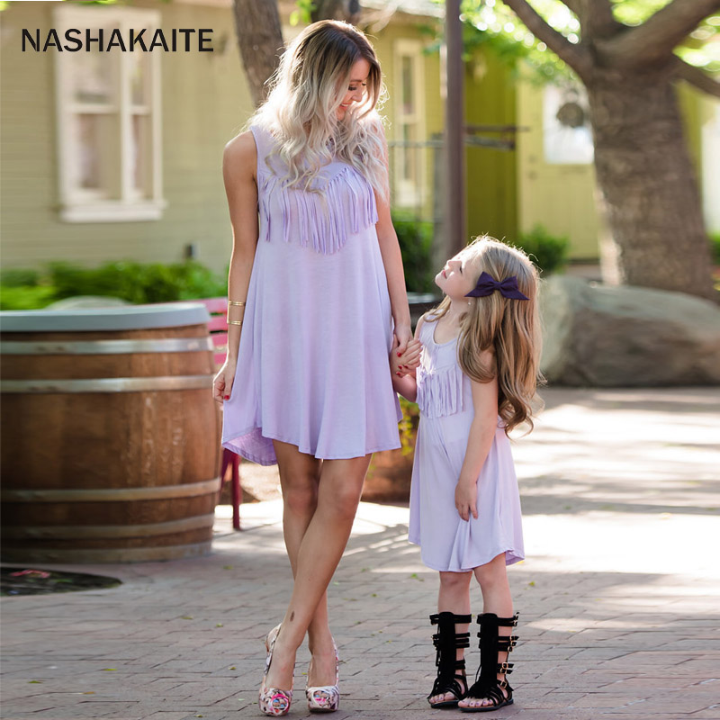 NASHAKAITE Mommy and me clothes mother daughter dresses Tassel Mini Dress mini me clothing Mom and daughter clothes Family Look ...