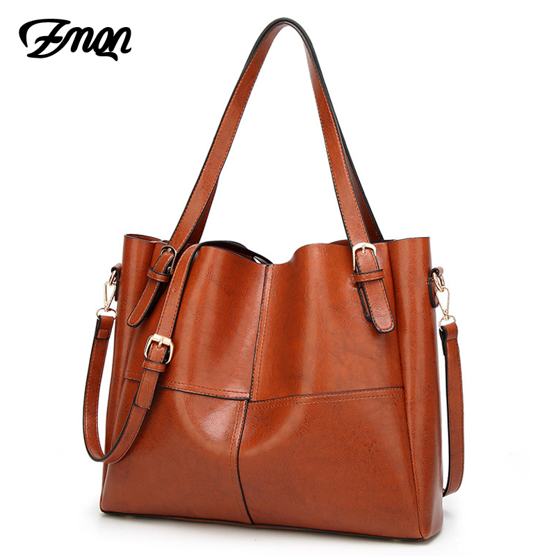 ZMQN Women Handbag Luxury Handbags Women Bags Designer Oil Wax Soft Leather High Quality 2018 Vintage Tote Bag Famous Brand A824 zmqn tote bags handbag women famous brand pu leather luxury designer handbag high quality high capacity ladies hand bag red a805