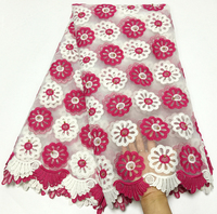 African Lace Fabric 2018 High Quality Lace white and fuchsia Bridal Lace Fabric With Beaded Nigerian Tulle Mesh Lace Fabrics