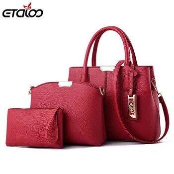 3Pcs / szettek Női kézitáskák Bőr válltáskák Női nagykapacitású alkalmi Tote Bag Tassel Bucket pénztárcák Új dagály Sweet Lady táska