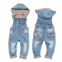 Top Quality 100 Cotton Infant Baby Overalls With Hat Cute Decoration Girls Boys Denim Jeans Jumpsuit