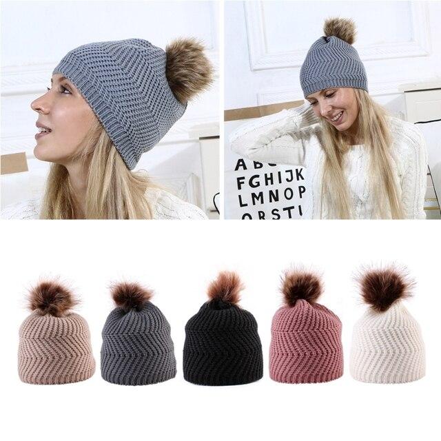 Nueva hembra invierno Cap Pom Poms sombreros mujeres niñas punto gorros Cap 6d7742ce2e9c