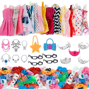 37/Set Doll Accessories =10 Pcs Doll Clothes Dress + 4 Glasses + 6 Necklace + 2 Bags + 5 Crowns +10 Pairs Shoes for Barbie Doll(China)