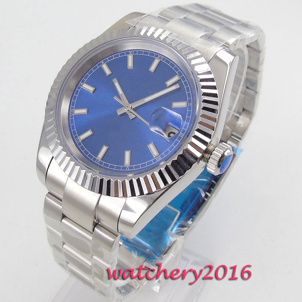NEW Arrive 40mm Blue Sterile Dial Deployment Sapphire Glass Date Stainless steel Automatic Mechanical Mens Wristwatches