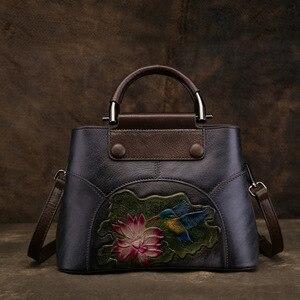 Image 5 - Johnature Handmade Embossing Genuine Leather Women Bag Handbags 2020 New Cow Leather Vintage Floral Shoulder&Crossbody Bags