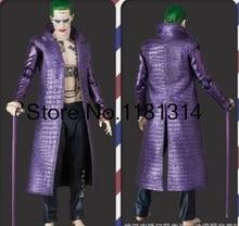 Падение доставка Джаред Лето Костюм Джокер Отряд Самоубийц Хэллоуин косплей костюм пальто кожа фиолетовый пальто