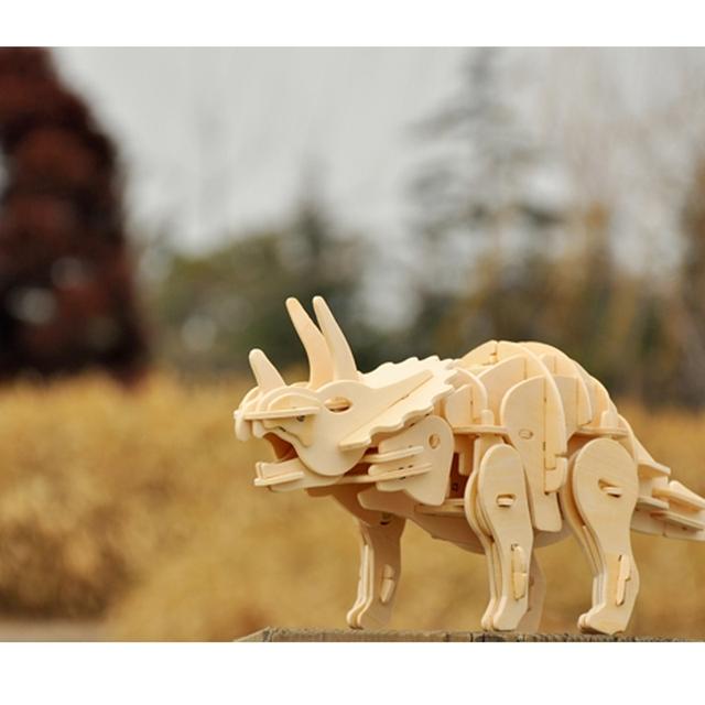 Puzzle Interactif Dinosaure Triceratops 3D DIYEn Bois Jouet pour Enfants et Adultes
