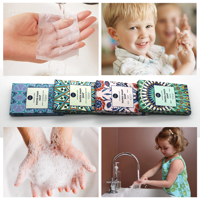 25PCS/Box Portable Disposable Soap Paper Refreshing Scent Mini Washing Hand Soap Outdoor Travel  4 Flavors/Set 1