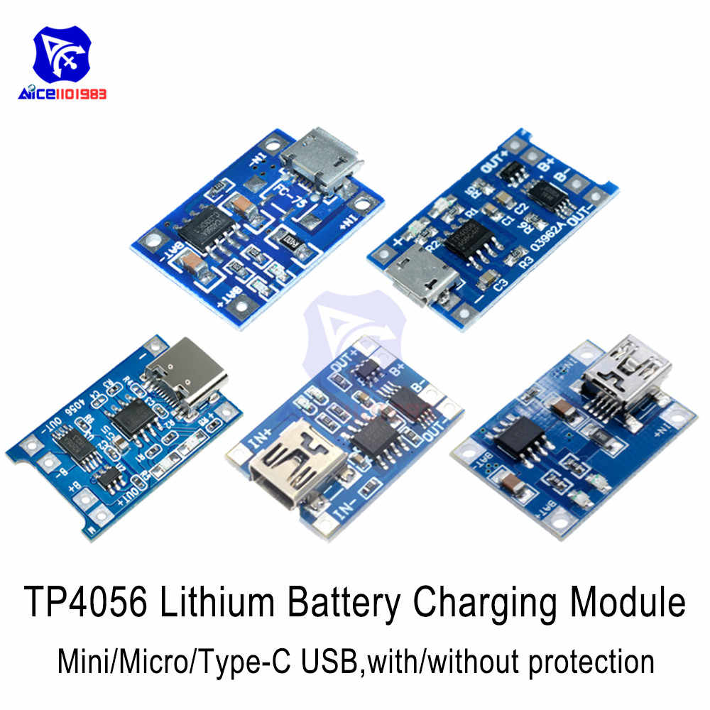 5V 1A TC4056A 18650 Batteria agli ioni di Litio del Caricatore Modulo di Tipo-C Micro USB Mini USB Adapter Over modulo di Protezione di Scarico di carica