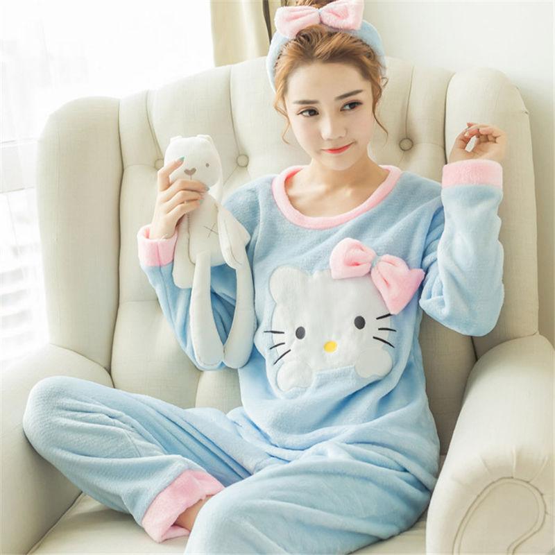High Quality Women Pajama Sets Winter Soft Thicken Cute Cartoon Flannel Sleepwear 2 pcs/Set Tops + Warm Pants Home Clothes Mujer 88