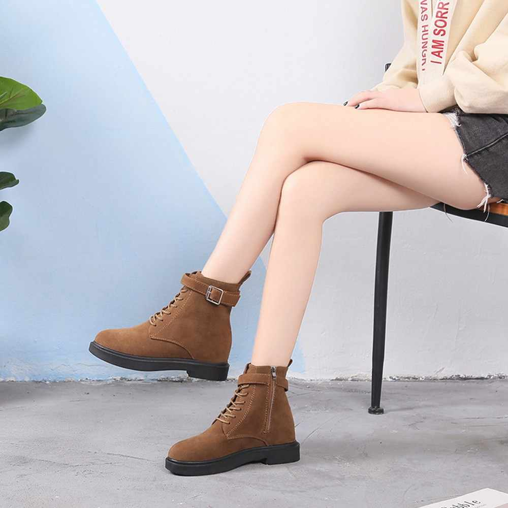 Fashion Winter boots shoes women Solid Med Thick Heel Zipper Martin Boots  Round Toe zapatos de 19a9c02dbd4a