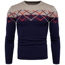 017 New Male Brand Sweaters Stylish plaid Knitted Men Long Sleeve Sweater Men O-Neck Sweater Mens Sweaters Pullover O