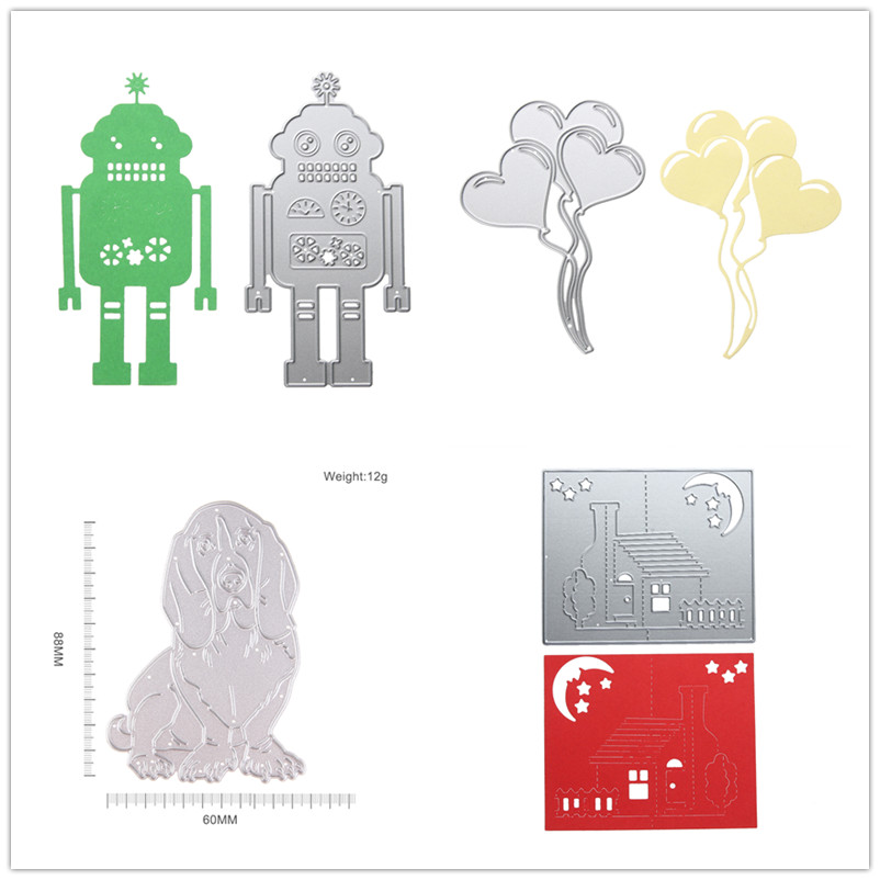 Cutting Dies for Scrapbooking Dog A Hank of Balloon Robot Metal Stencil Scrapbook Craft Embroidery Cutting Die for Kids