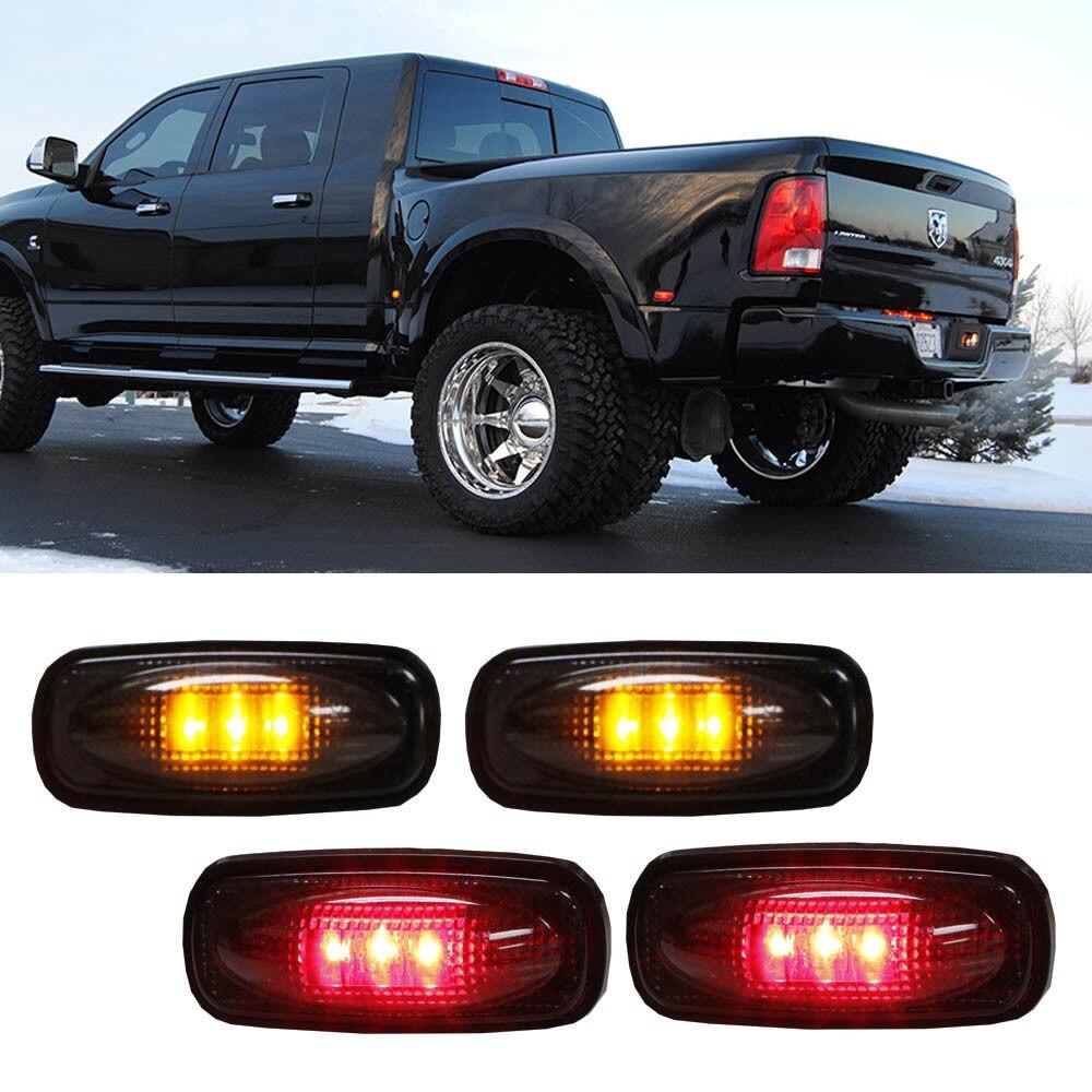 For <font><b>Dodge</b></font> <font><b>RAM</b></font> HD 4pc LED Fender Bed Side Marker Lights Smoked Lens (Amber + Red)