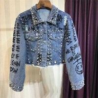 2019 Punk Style Letter Print Rivets Beading Women Autumn Jacket Coat Loose Style Women Denim Jacket Coat Crop Tops Abrigos Mujer