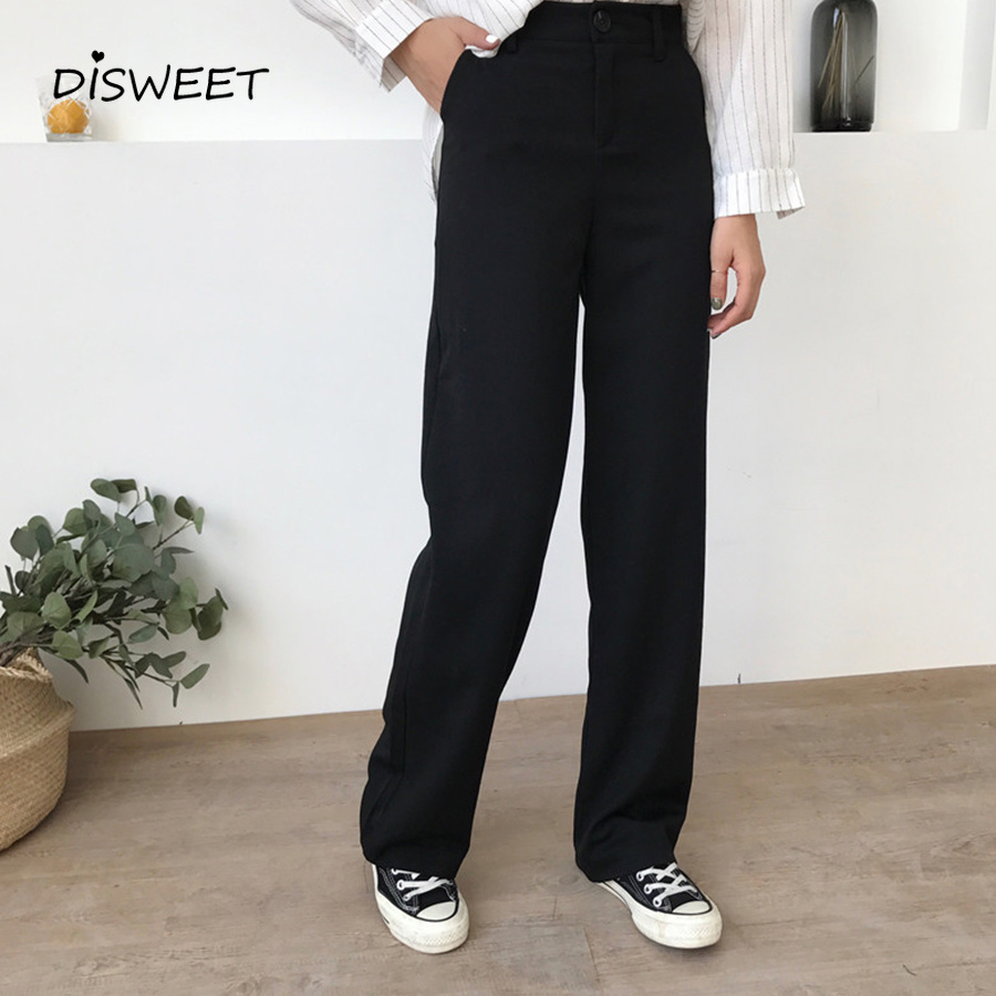 2019 Pants Women Solid Loose High Waist Casual Long Trousers Trendy Pockets Womens Korean Pants Soft Simple Students