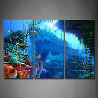 3 Panels Unframed Wall Art Pictures Blue Fish Boat Sea Canvas Print Modern Animal Posters No Frame For Living Room Decor